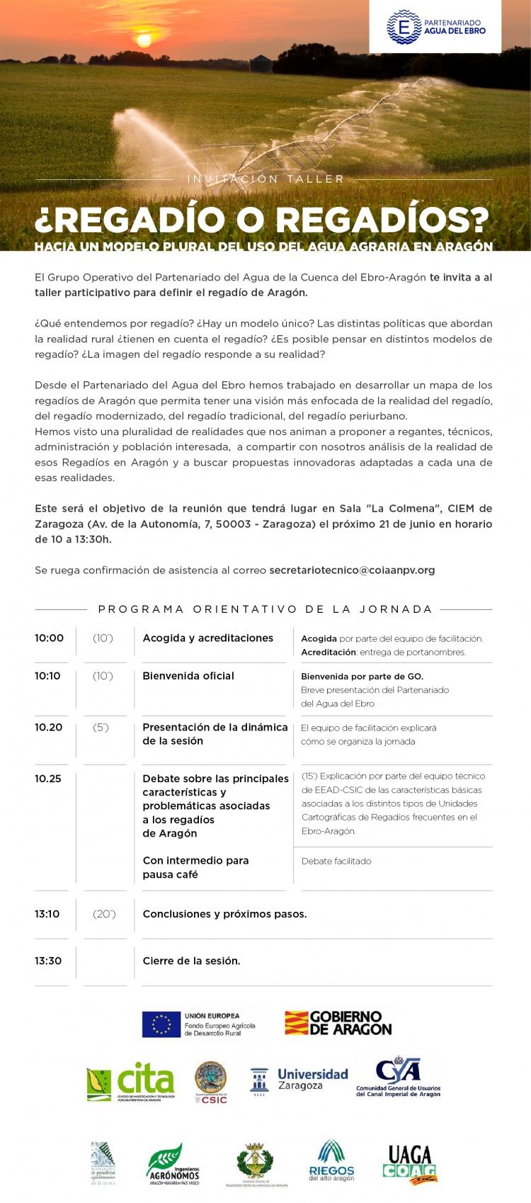 ¿Regadío o Regadíos? Hacia un modelo plural del uso del agua agraria en Aragón. Partenariado Agua del Ebro