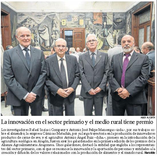 Heraldo de Aragón. Entrega de los premios de la Alianza Agroalimentaria Aragonesa 2014