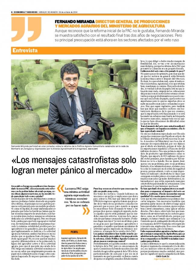 Alianza Agroalimentaria Aragonesa. JORNADA sobre la PAC 2014. Repercusión en prensa