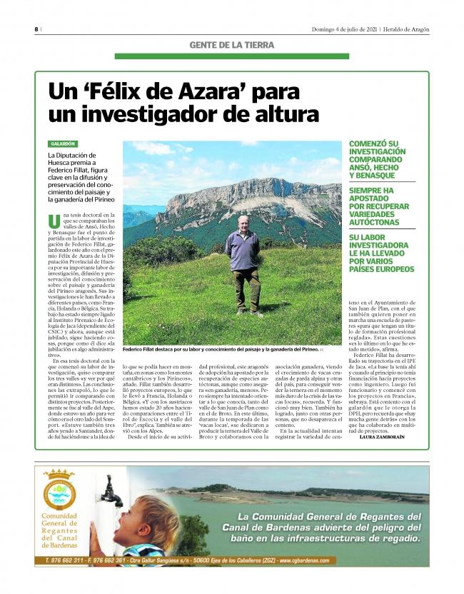 "Federico Fillat, ingeniero agrónomo. Galardón ""Felix de Azara 2021"""