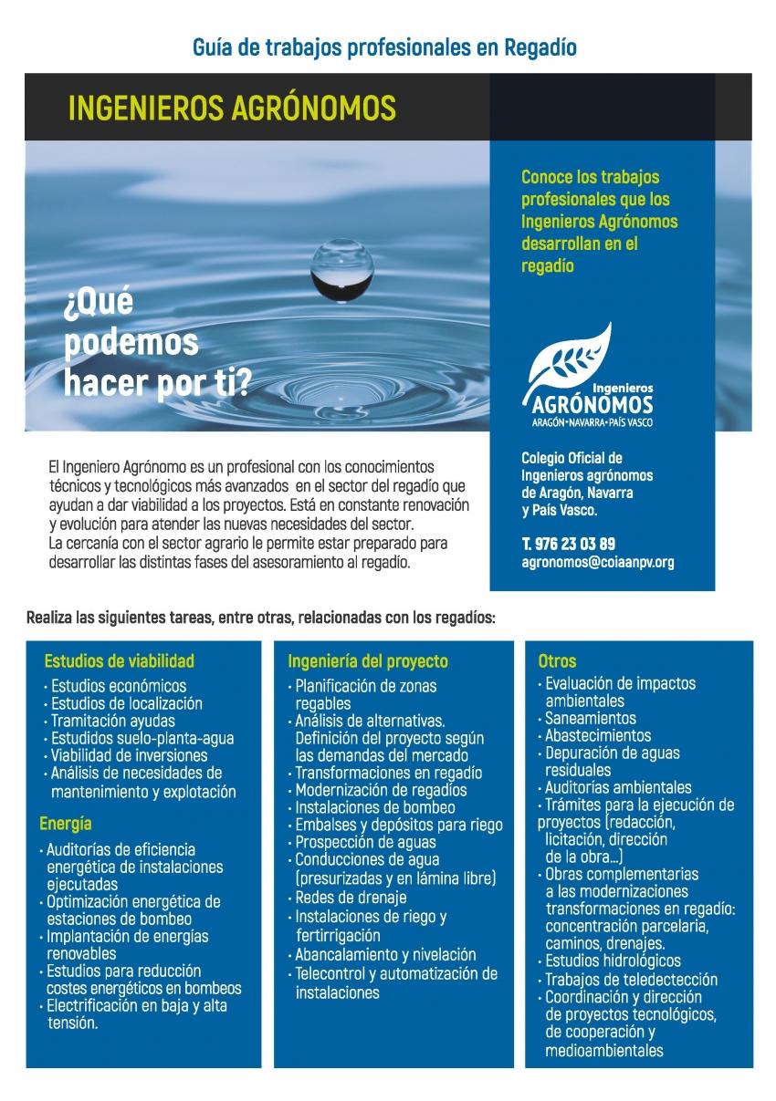 Ingenieros Agrónomos y regadío. Guía de trabajos profesionales. COIAANPV
