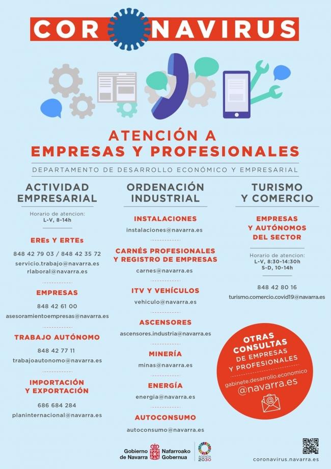 COVID 19 / atención a empresas y profesionales Gobierno Navarra / Ingenieros AGrónomos