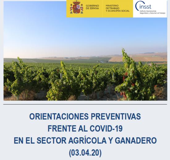 ORIENTACIONES PREVENTIVAS FRENTE AL COVID-19 EN EL SECTOR AGRÍCOLA Y GANADERO