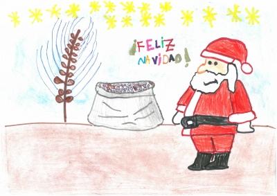 """""""Papá Nöel nos trae trigo en su saco!!, casi no puede con todo lo que pesa!!"""". Oscar Melendo, 7 años"""