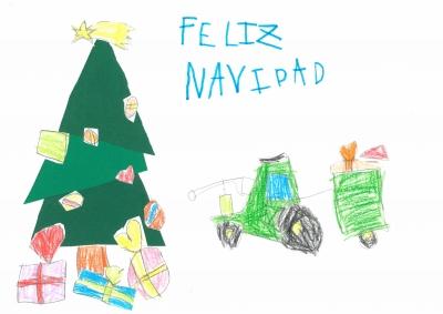 """""""El tractor de la Navidad"""". Marina y Dario, 4 y 6 años"""