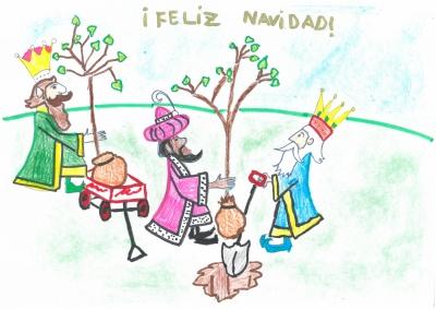 """""""Los Reyes Magos quieren cuidar de nuestros bosques y plantan árboles para que no desaparezcan. Feliz Navidad"""". Raquel Melendo, 10 años"""