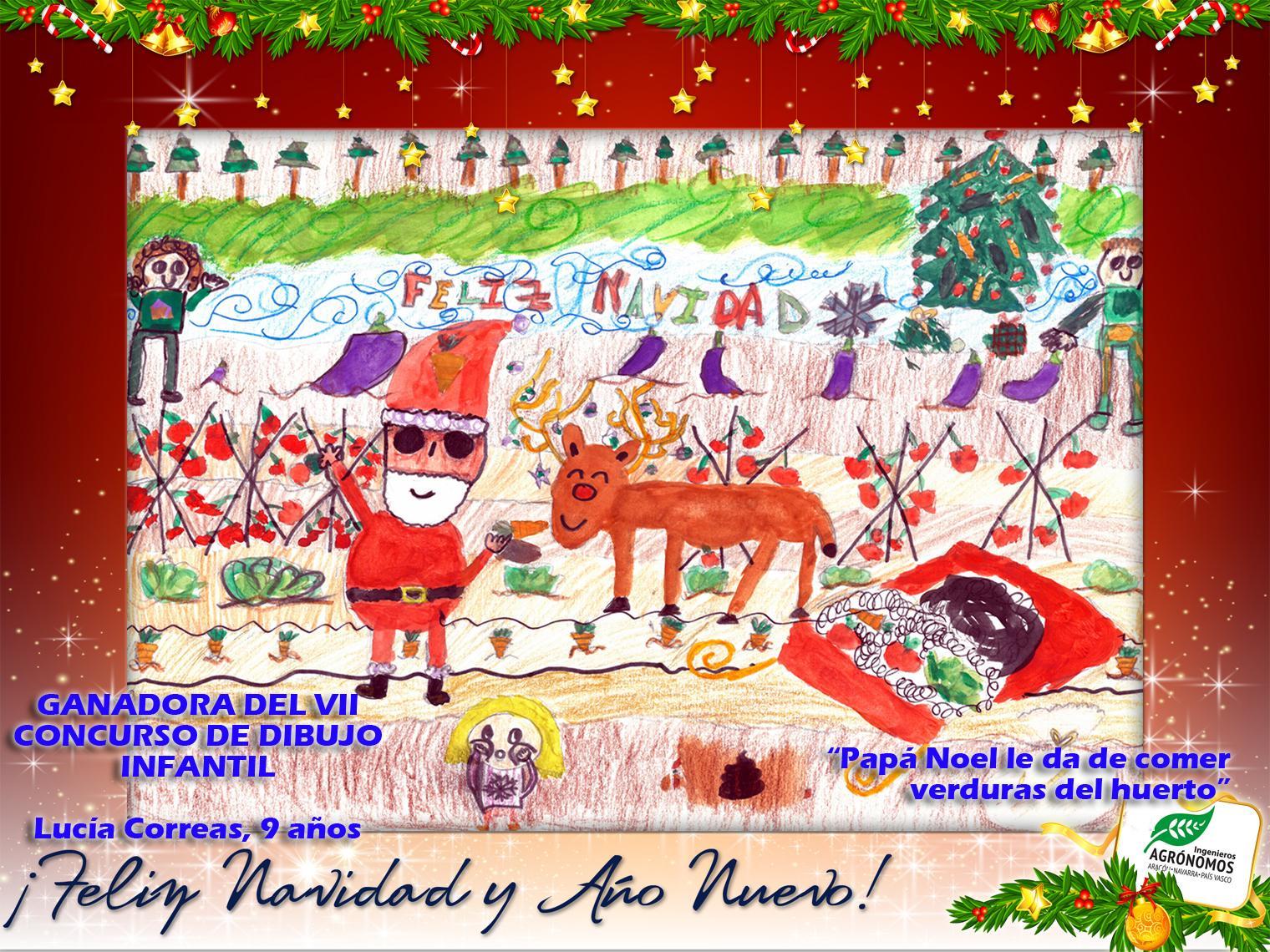 """Papá Noel aterriza en le huerto de mis padres para darles energía a los renos"""" de Lucia Correas, 9 años"""
