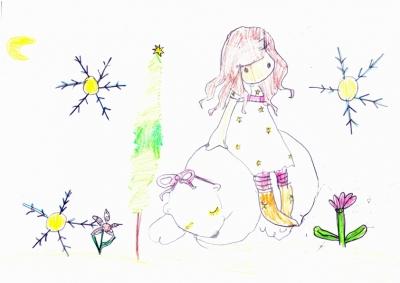 """""""La Naturaleza con sus árboles y flores que conoce muy bien mi abuelo en Navidad y una niña Gorjuss con su amigo el Oso Polar"""" Carla Martínez, 6 años"""