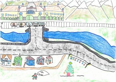 """""""La cosecha se transporta a la estación de Canfranc en Navidad"""" Diego Soriano,10 años"""