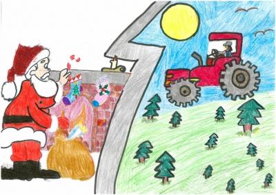 """""""Papá Nöel lleva regalos a los buenas agricultoras"""" Jara Chinchetru, 9 años"""