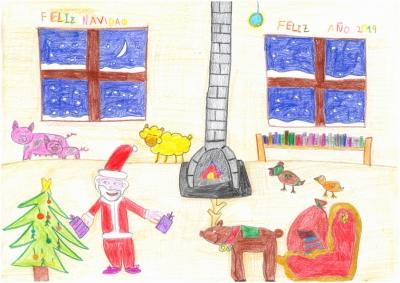"""""""La Navidad en la granja de Papá Nöel"""" Luis Alcubierre, 8 años"""