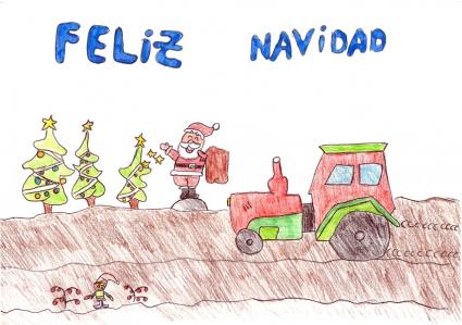 """""""Papá Noel y sus elfos ayudan a la cosecha este año"""" Darío Cano, 10 años"""