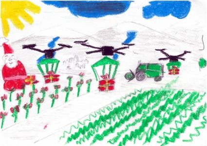 """""""Papá Noel lleva regalos a todos los pueblos con ayuda de Drones"""" Diego de Partearroyo, 7 años"""