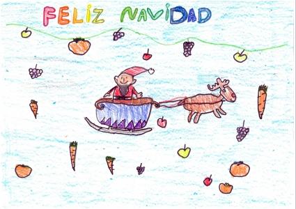 """""""Lluvia de frutos en Navidad"""" Inés Domínguez, 6 años"""
