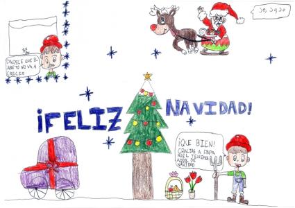 """""""Papá Noel ayuda a crecer el árbol y nuestra alegría en Navidad"""" Marina Cano, 8 años"""