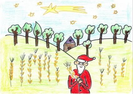 """""""Papá Noel cosecha el trigo"""" Oscar Melendo, 11 años"""