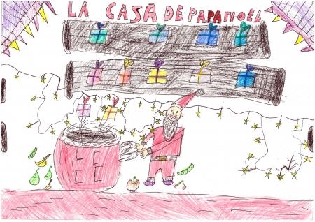 """Inés Dominguez, 7 años. """"La casa de Papa Noel"""""""